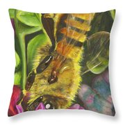 Honey Bee On Mexican Heather Throw Pillow