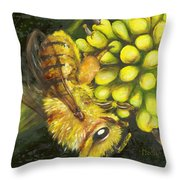 Honey Bee On Wild Golden Glow Throw Pillow