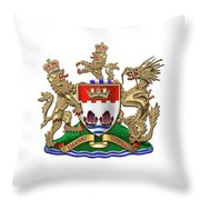 Hong Kong - 1959-1997 Coat Of Arms Over White Leather  Throw Pillow