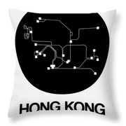 Hong Kong Black Subway Map Throw Pillow