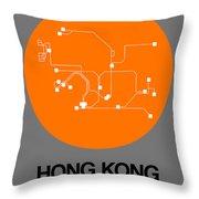Hong Kong Orange Subway Map Throw Pillow