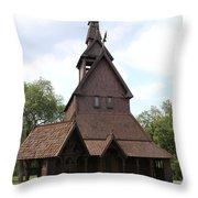 Hopperstad Stave Church Replica Throw Pillow