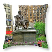Horace Greelly, First President Of Typographic Union Of New York City Throw Pillow
