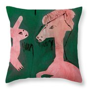 Horse And A Rabbit Throw Pillow