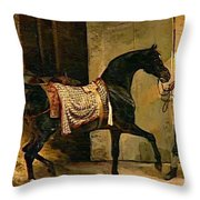 Horse Leaving A Stable Throw Pillow