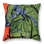 Horse On Orange And Green Throw Pillow