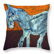 Horse On Orange Throw Pillow