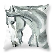 Horse Silver Throw Pillow by Go Van Kampen