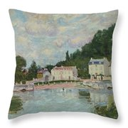 Horses Being Watered At Marly-le-roi, 1875 Throw Pillow