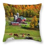 Horses Grazing In Autumn Throw Pillow