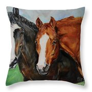 Horses In Oil Paint Throw Pillow