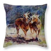 Horses On Work Throw Pillow