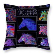 Horses Poster Throw Pillow