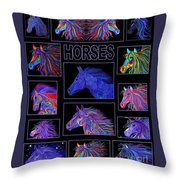 Horses Poster Throw Pillow