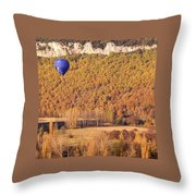 Hot Air Balloon, Beynac, France Throw Pillow by Mark Shoolery