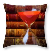 Hourglass And Old Books Throw Pillow