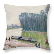 Houseboats On The River Loing Throw Pillow