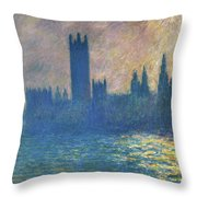 Houses Of Parliament, Sunlight Effect - Digital Remastered Edition Throw Pillow