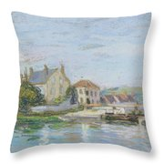 Houses On The Bank Of Ecluse At The Gazonne Throw Pillow