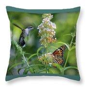 Hummingbird And Monarch Throw Pillow