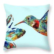 Hummingbird Blue - Sharon Cummings Throw Pillow