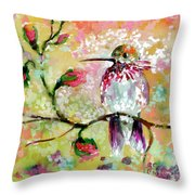 Hummingbird Pink Blossoms Throw Pillow by Ginette Callaway