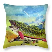 Hungry Trout Throw Pillow by Clyde J Kell