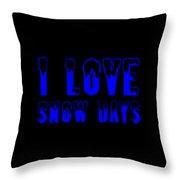 I Love Snow Days Blue Throw Pillow