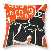 I Was Born In A Mine Woodcut 55 Throw Pillow