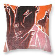 I Was Born In A Mine Woodcut 62 Throw Pillow