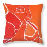 I Was Born In A Mine Woodcut 69 Throw Pillow