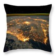 Iberian Peninsula From Space Throw Pillow