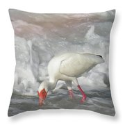 Ibis And A Tinted Sea Throw Pillow