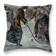 Ice Hockey  Ladies Match On The Lake In Wimbledon Park Throw Pillow