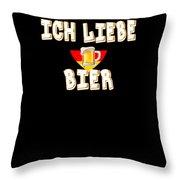 Ich Liebe Bier Fun German Oktoberfest Beer Festival Design For Beer Lovers And Beer Drinkers Throw Pillow
