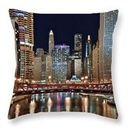 Iconic Night View Down The River Throw Pillow