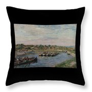 Idle Barges On The Loing Canal At Saint-mammes Throw Pillow