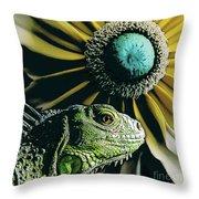 Iguana And Sunflower Throw Pillow