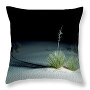 Illuminated Yucca At Night In White Sands National Monument, New Mexico - Newm500 00110 Throw Pillow