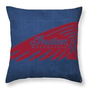 Indian Motorcycle Old Vintage Logo Blue Background Throw Pillow