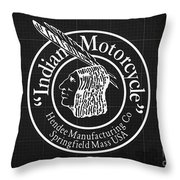 Indian Motorcycle Old Vintage Logo Blueprint Background Throw Pillow