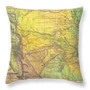Indian Territory Tribal Map Northern Texas Throw Pillow