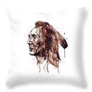 Indian Warrior Sepia Tones Throw Pillow