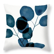 Indigo Eucalyptus 3- Art By Linda Woods Throw Pillow