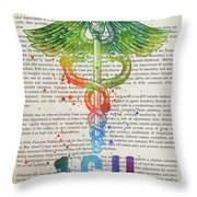 Intensive Care Unit Gift Idea With Caduceus Illustration 03 Throw Pillow