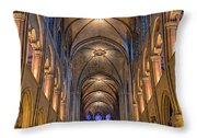 Interior Of Notre Dame De Paris Throw Pillow