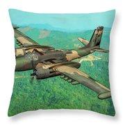 Invader Over Vietnam - Oil Throw Pillow
