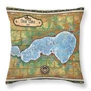 Iowa Clear Lake Custom Map Custom Map Art Throw Pillow