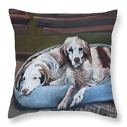 Irish Red And White Setters - Archer Dogs Throw Pillow