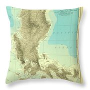Island Of Luzon - Old Cartographic Map - Antique Maps Throw Pillow